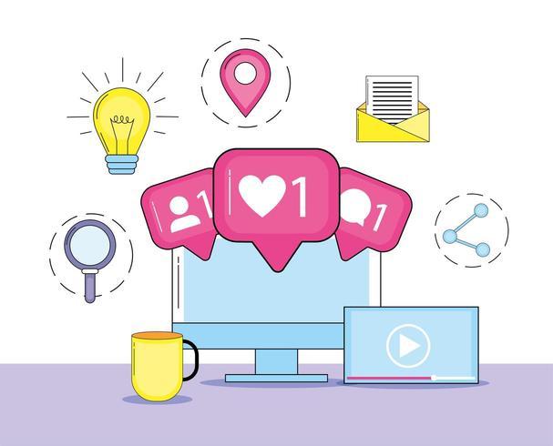 dator med information om sociala medier vektor