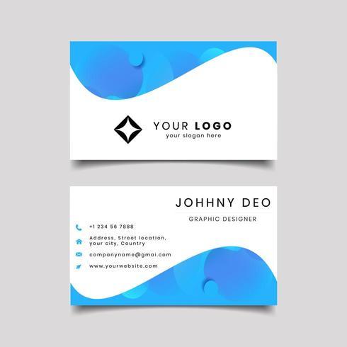 blå våg visitkort design vektor