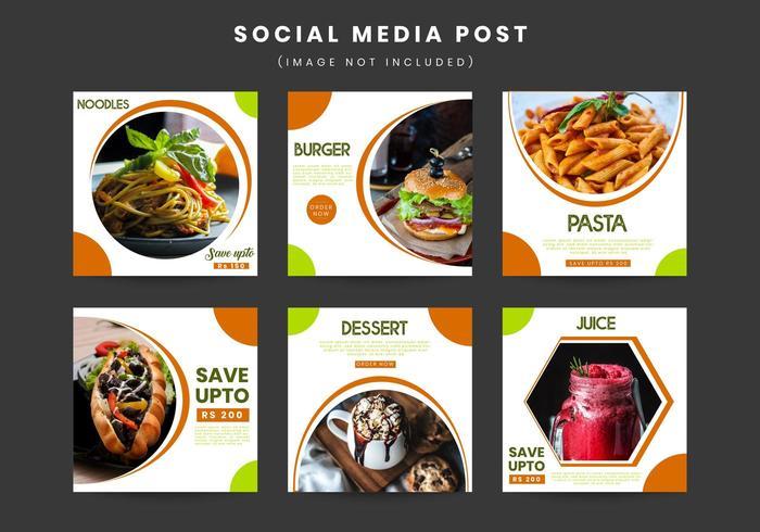 Samling av restaurangmarknader för sociala medier vektor