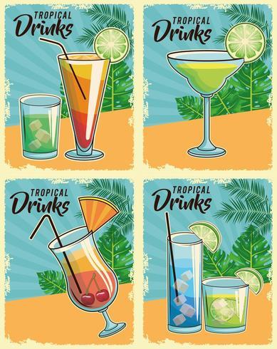 Uppsättning av retro tropiska cocktailsaffischer vektor