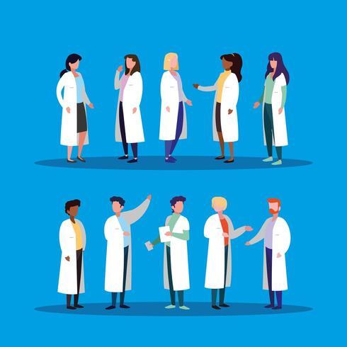 Gruppe von Ärzten Avatar Charakter vektor