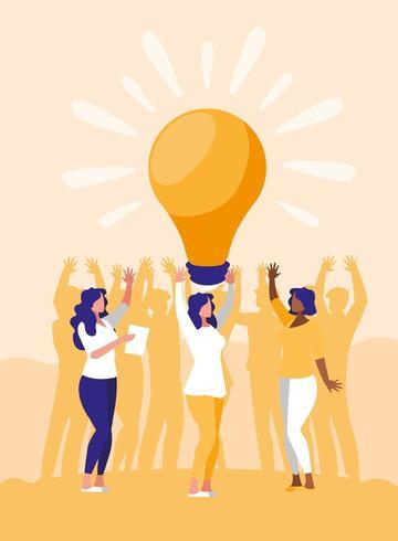 affärskvinnor firar med glödlampa vektor