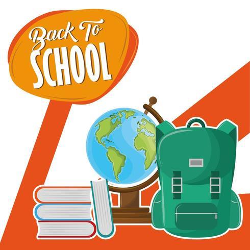 Tillbaka till skolmeddelandet med ryggsäck vektor