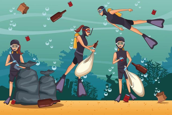 Freiwillige, die Ozean unter Wasser aufräumen vektor
