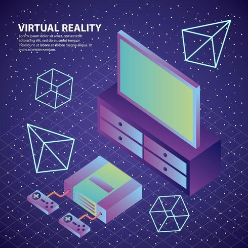 Konsole der virtuellen Realität steuert Zahlen des Fernsehens 3d vektor