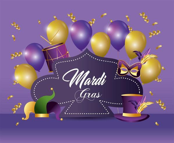 mardi gras-evenemang med ballonger och dekorationer vektor