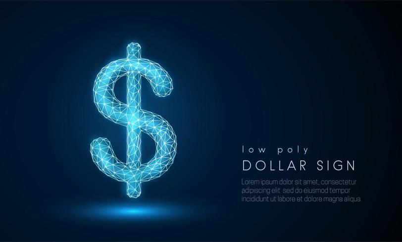 Abstraktes Dollarzeichen. Low-Poly-Style-Design. vektor