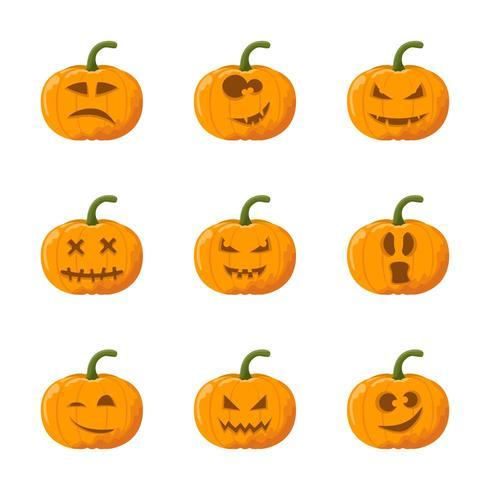 Tecknad halloween pumpa känslor set vektor