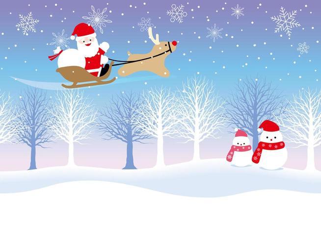 Weihnachtsmann und Rentiere vektor