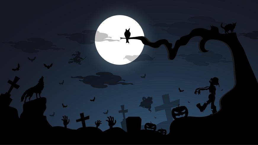 Dunkle Nachtglücklicher Halloween-Hintergrund vektor