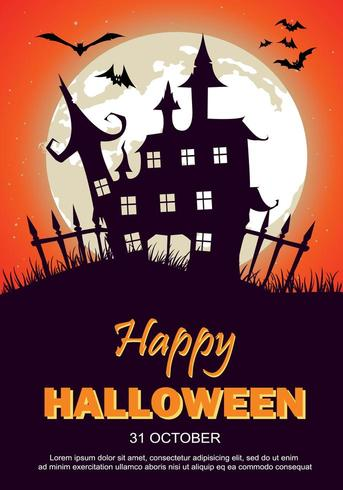 Halloween-Party-Plakat mit Spukhaus, Mond und Fledermäusen vektor