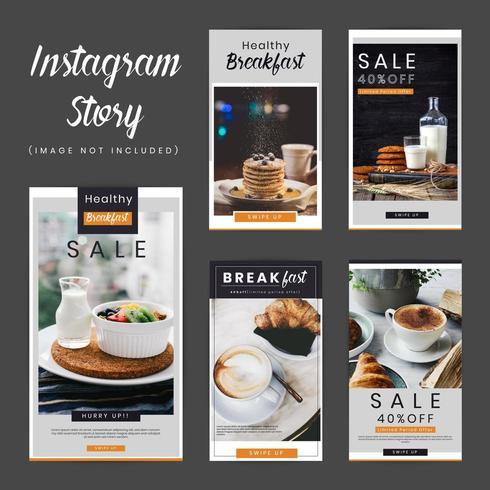 Frukost Social Media Stories Pack vektor