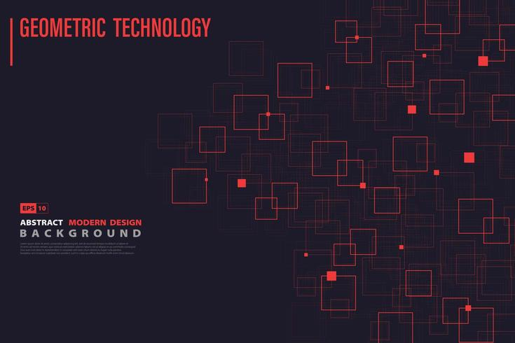 Systematisk röd fyrkantig teknikmönster vektor