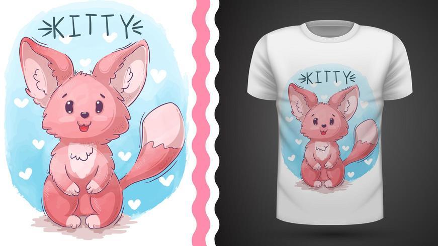 Katt, kattunge, räv - idé för tryckt t-shirt vektor