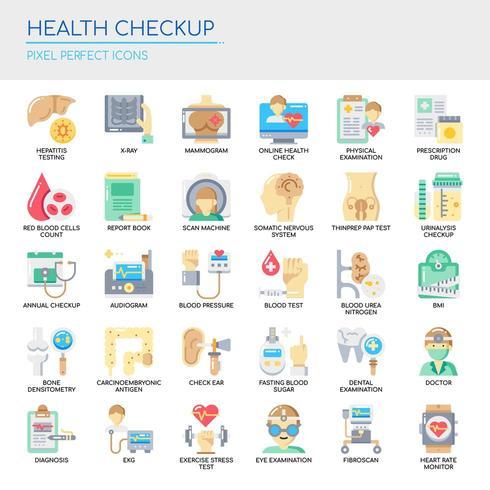 Reihe von Health Checkup dünne Linie und Pixel perfekte Symbole für jedes Web- und App-Projekt. vektor