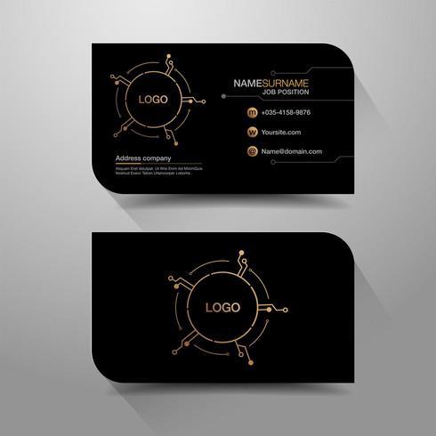 Företagsnamnkort med kretsdesign vektor