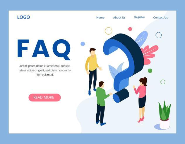 FAQ häufig gestellte Frage Landing Page vektor