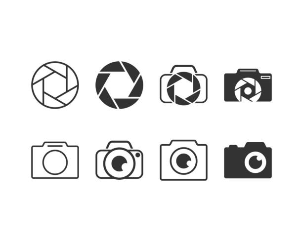 Fotografie und Kamera-Grafik-Icon-Set vektor