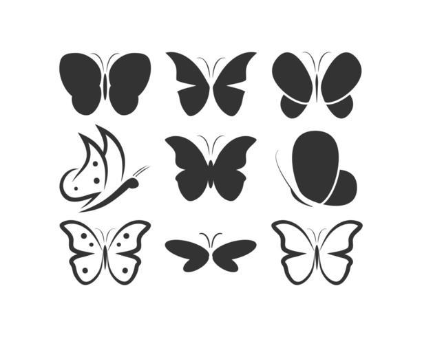 Schmetterlingsschattenbildlogo-Ikonensatz vektor