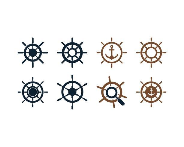 Ikonuppsättning för skeppshjul vektor