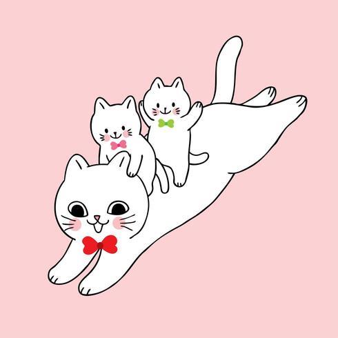 Gullig katt- och babyhoppning för tecknad film vektor