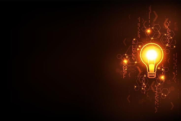 Glödande glödlampa och abstrakt tech-koncept vektor