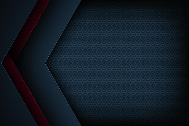 Mörkblå och röd abstrakt klippt pappersvinkelbakgrund vektor
