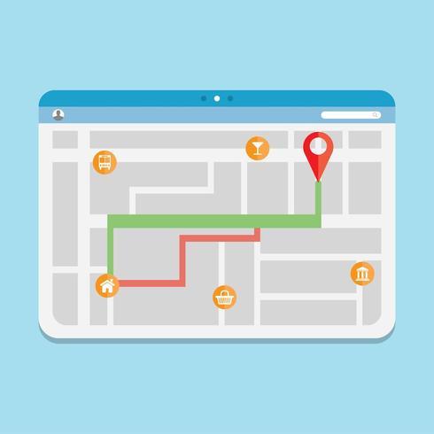 Navigationsroute GPS vektor