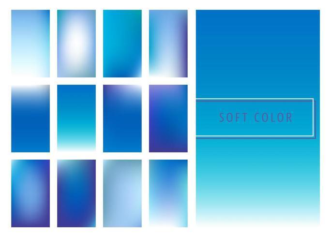 Uppsättning av mjuk blå färggradientbakgrund vektor