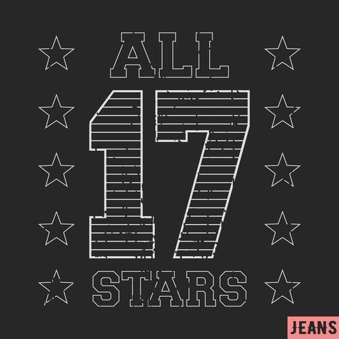 17 all star vintage stämpel vektor