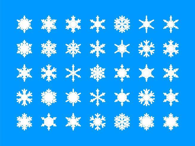 Vita snöflingansamling vektor