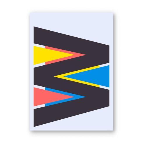 Bokstav W-affisch vektor