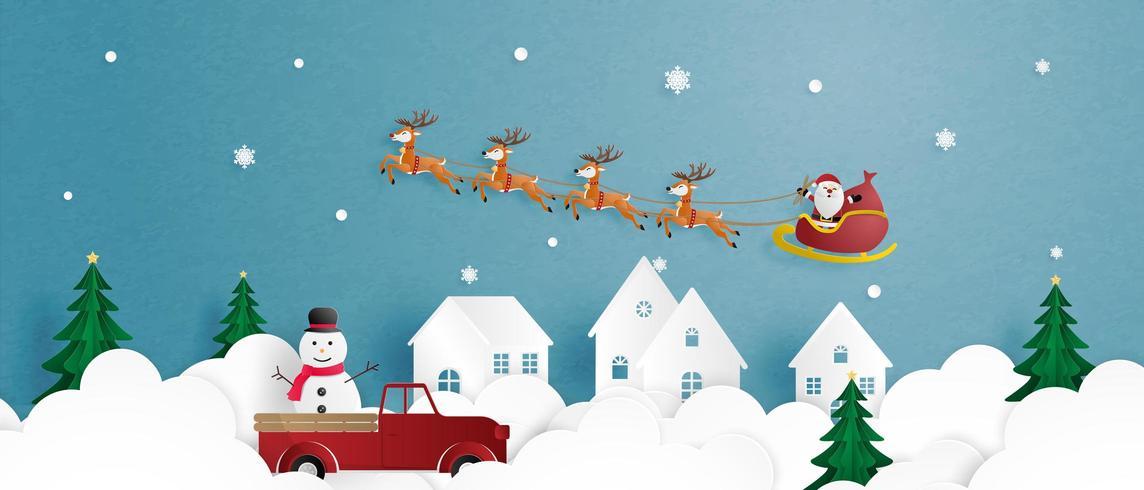 Gratulationskort för god jul i papperssnittstil. vektor