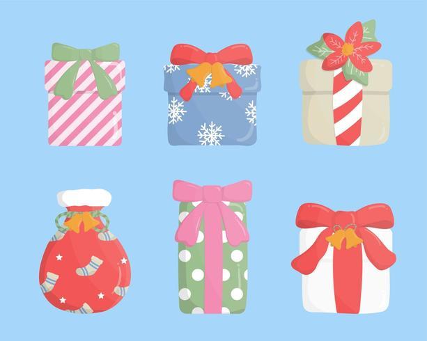 Satz der bunten Geschenkbox auf blauem Hintergrund. vektor