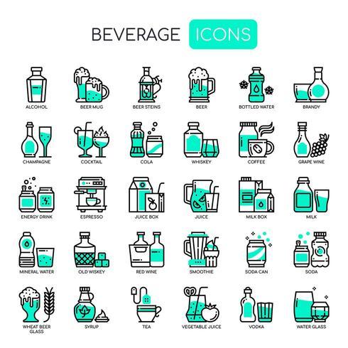 Dryck, tunn linje och perfekta ikoner för pixlar vektor