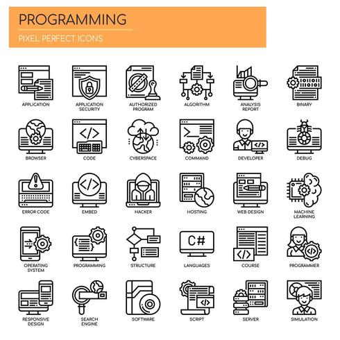 Programmering, tunn linje och perfekta ikoner för pixlar vektor