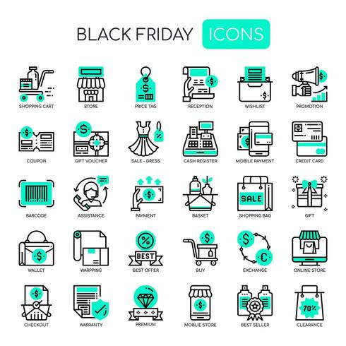 Black Friday Thin Line und Pixel Perfect Icons vektor