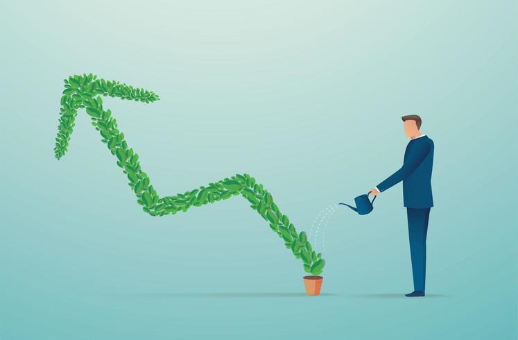 affärsman vattning grön pil växt vektor