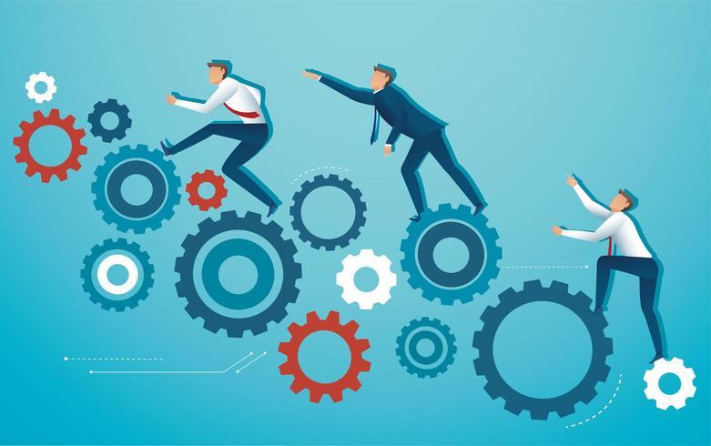 affärsfolk klättrar redskap hjul vektor