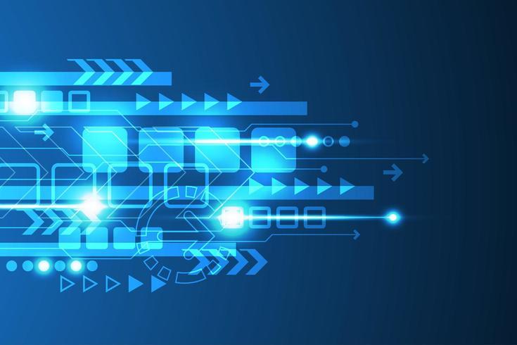 Glühende blaue abstrakte Technologiepfeile und Linie Design vektor