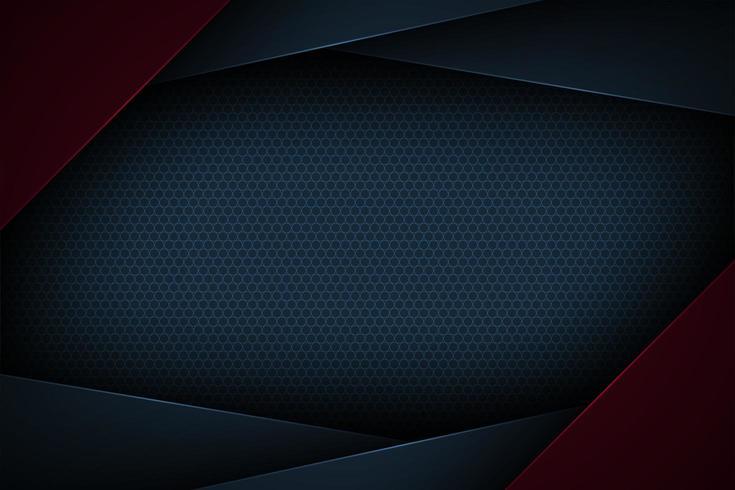 Mörkblå och röd abstrakt lager geometrisk ram vektor