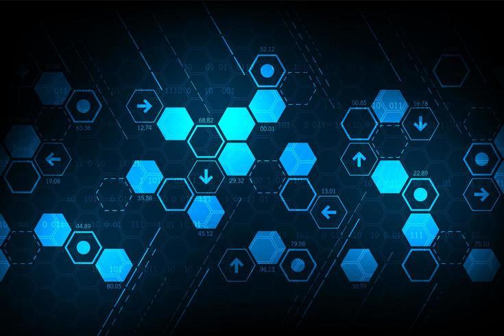 Glühendes blaues Steigungshexagon-Mosaik-Technologiekonzept vektor
