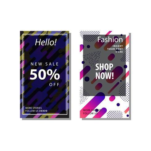 uppsättning försäljning banner bakgrund med dynamiska rundade former vektor