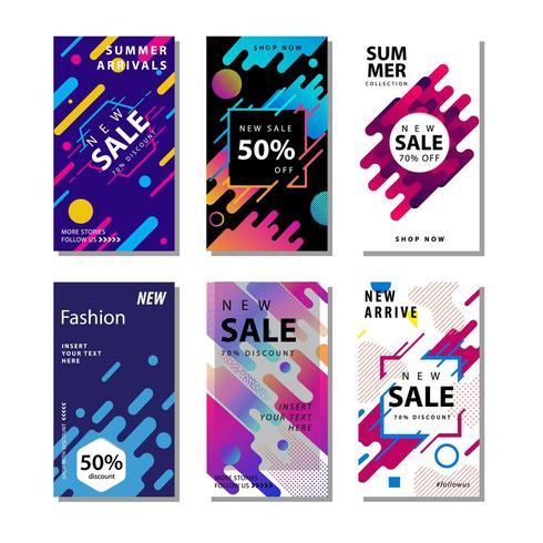 Set Sale Banner Hintergrund mit dynamischen abgerundeten Formen Element vektor