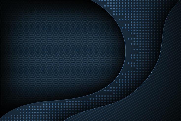 Mörkblå prickmatris krökt skiktad form för bakgrund vektor