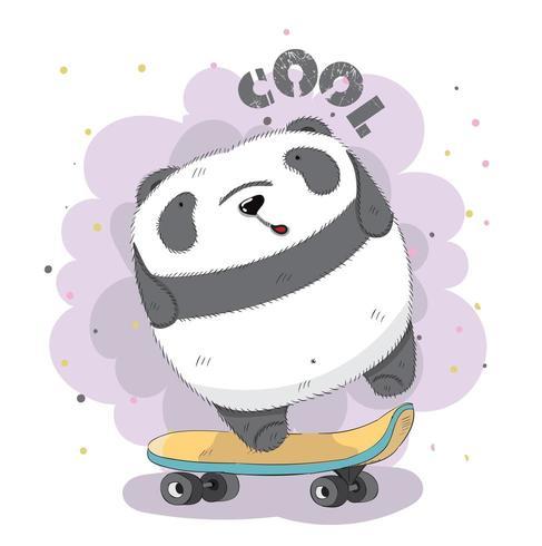 söt baby Panda på skateboard vektor