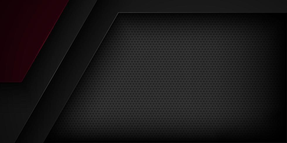 Överlappande bakgrund för geometriska former för svart och mörkröd 3d vektor