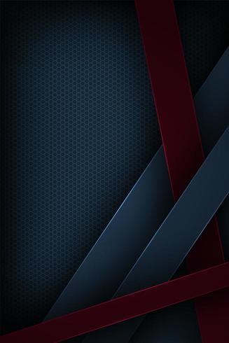 Mörkblå och röd överlappande bakgrund för snittpapper formar vektor