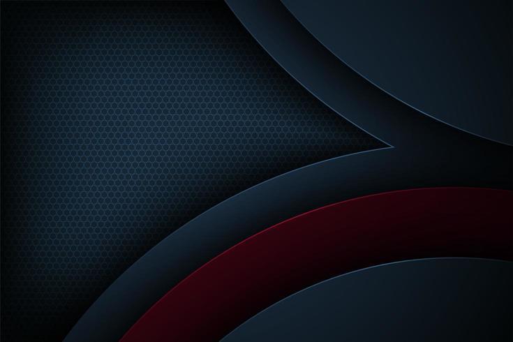 Mörkblå och röd vinklad krökta överlappande former vektor