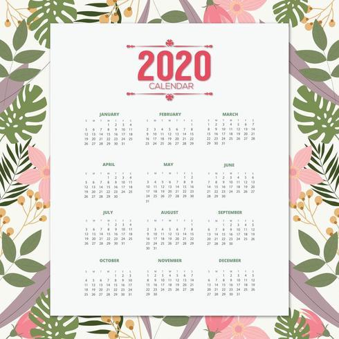 2020 kalender tropisk design vektor